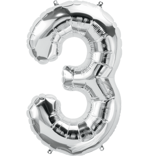 "40"" Jumbo Number Three ""3"" Silver Foil Balloon"