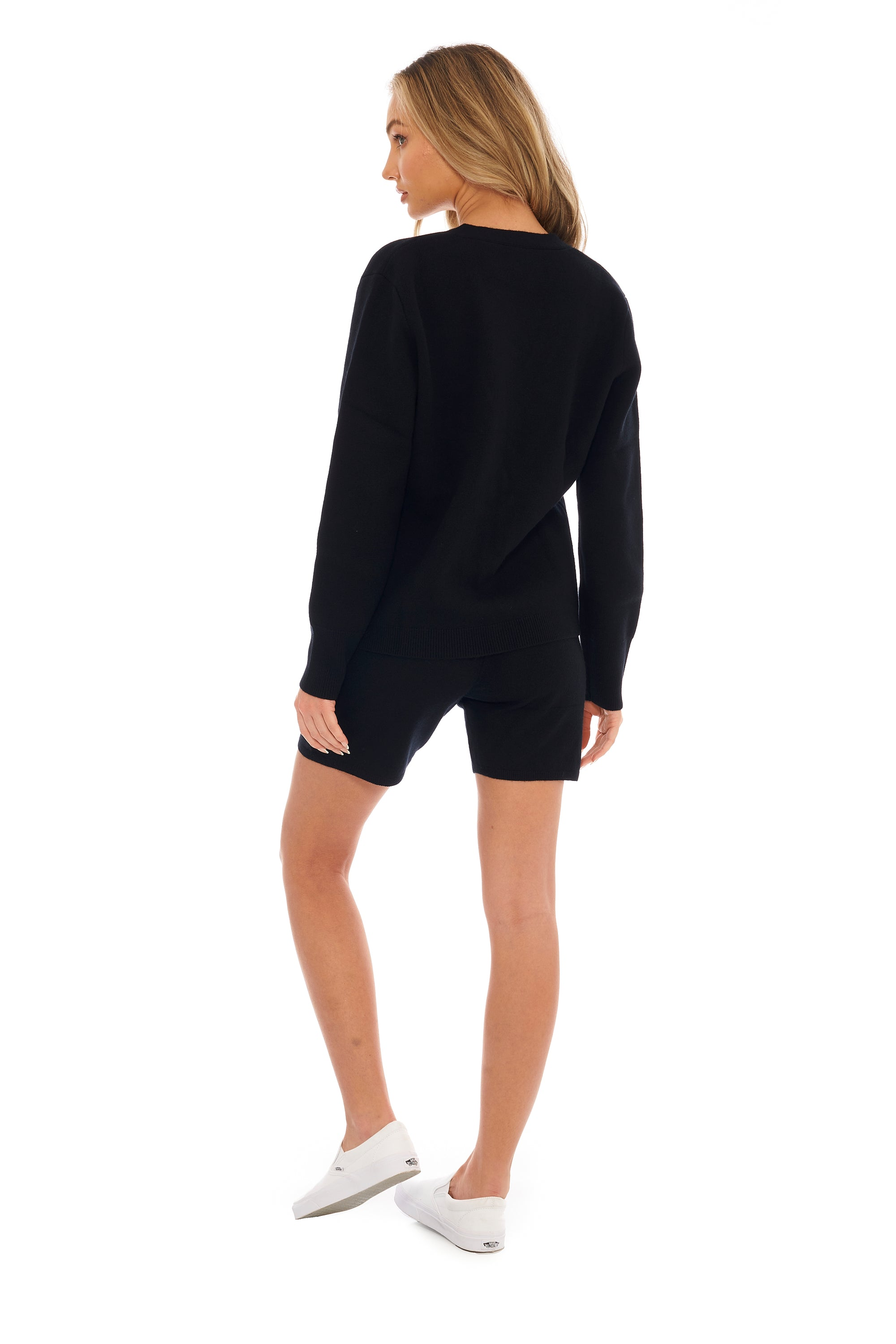 Ink Black Cashmere Biker Short
