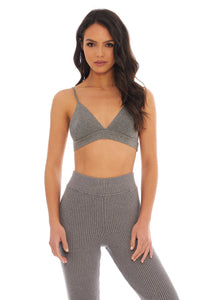 Load image into Gallery viewer, Classic Grey Ribbed Bra
