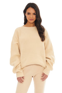 Load image into Gallery viewer, Classic Cream Ribbed Sweater