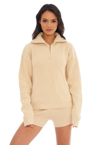 Load image into Gallery viewer, Classic Cream Ribbed Zip Collar Sweater