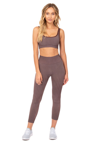 Burgundy Pin Stripe Sports Bra