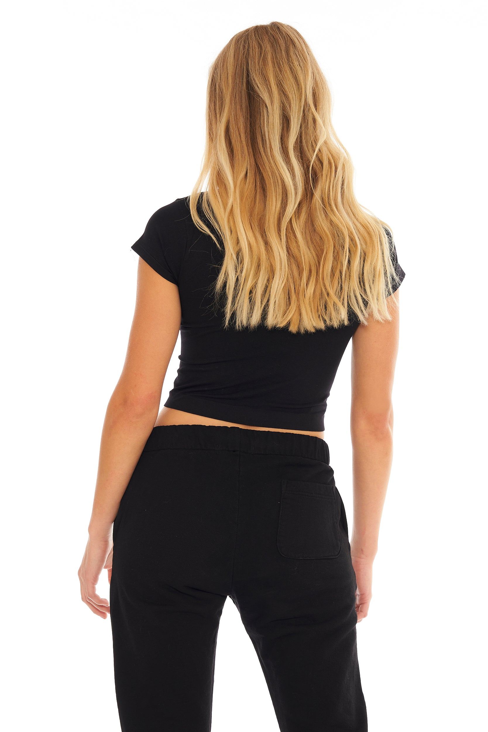Cap Sleeve Crop Tee- Black