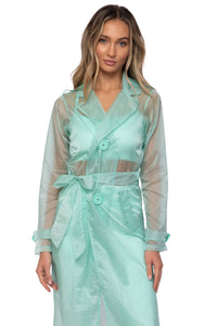 Load image into Gallery viewer, Seafoam Trench Coat