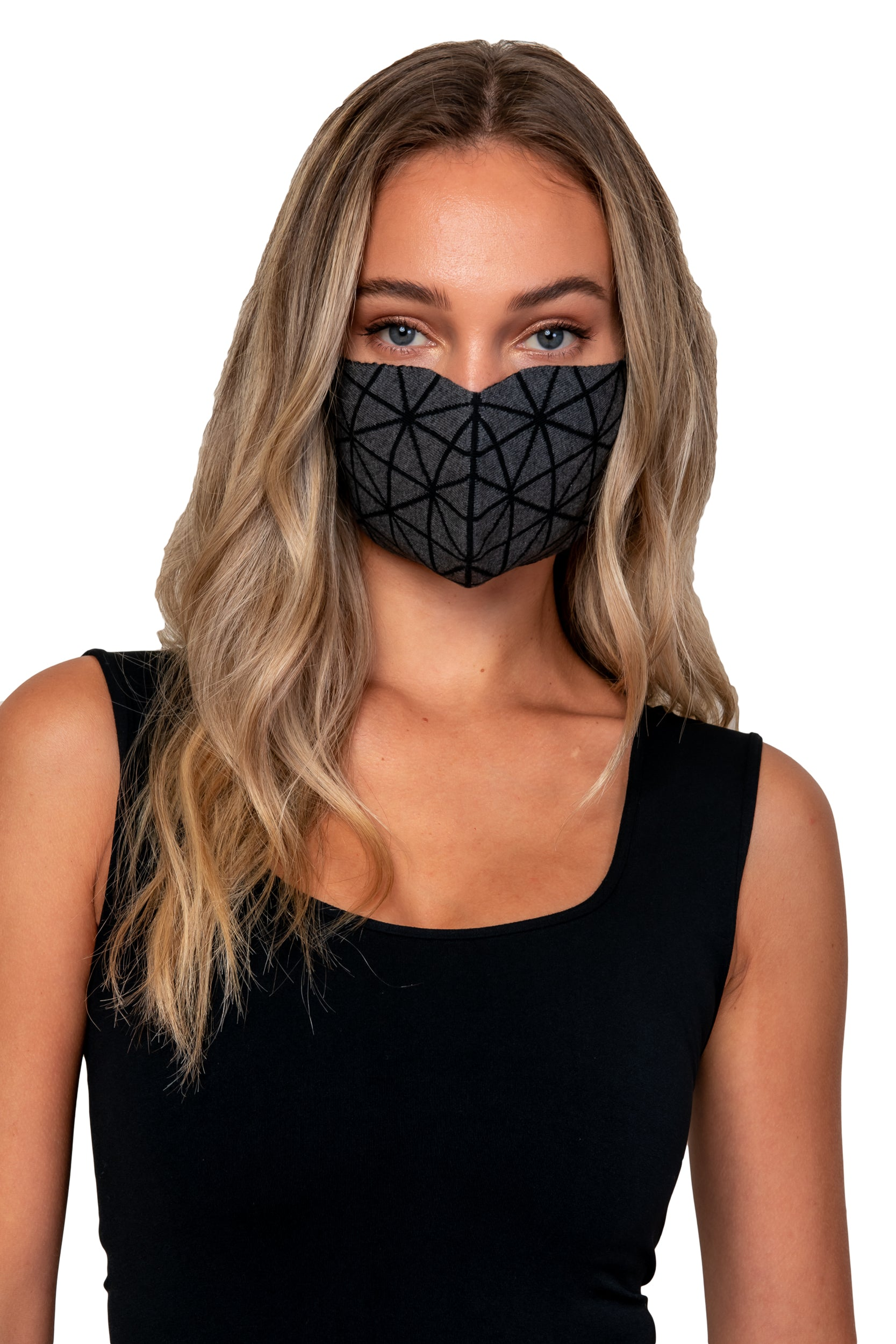 Graphite Jacquard knit reversible mask