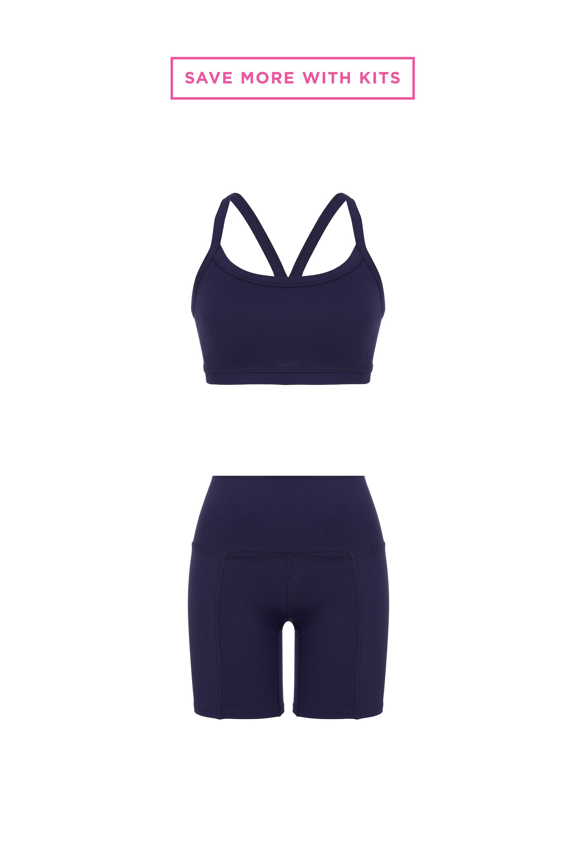 Midnight Blue Bra + Biker Short Kit