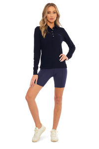 Load image into Gallery viewer, Midnight Blue Classic Long Sleeve Polo