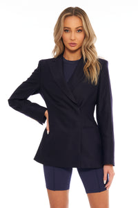 Load image into Gallery viewer, Midnight Blue Double-Breasted Blazer