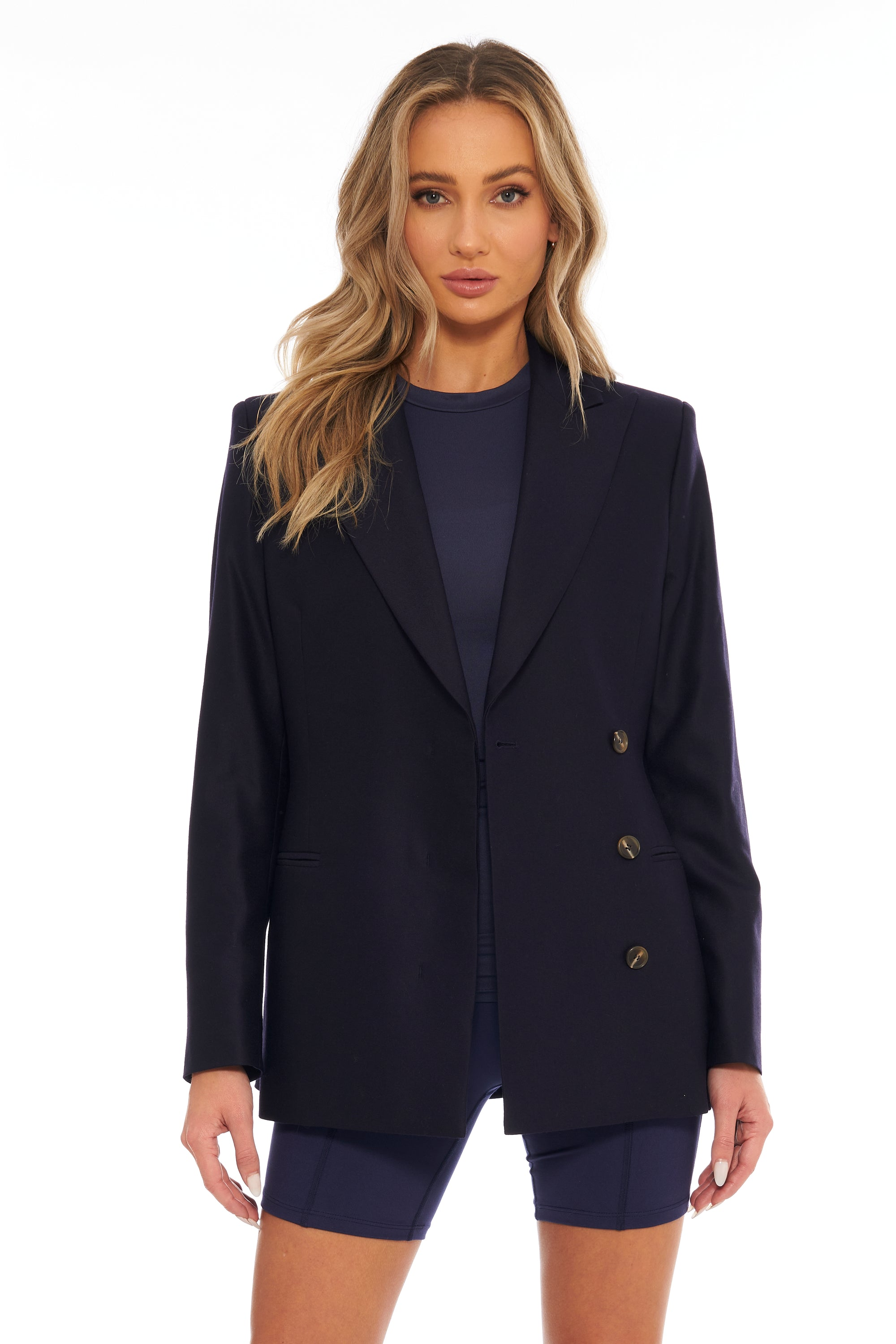 Midnight Blue Double-Breasted Blazer