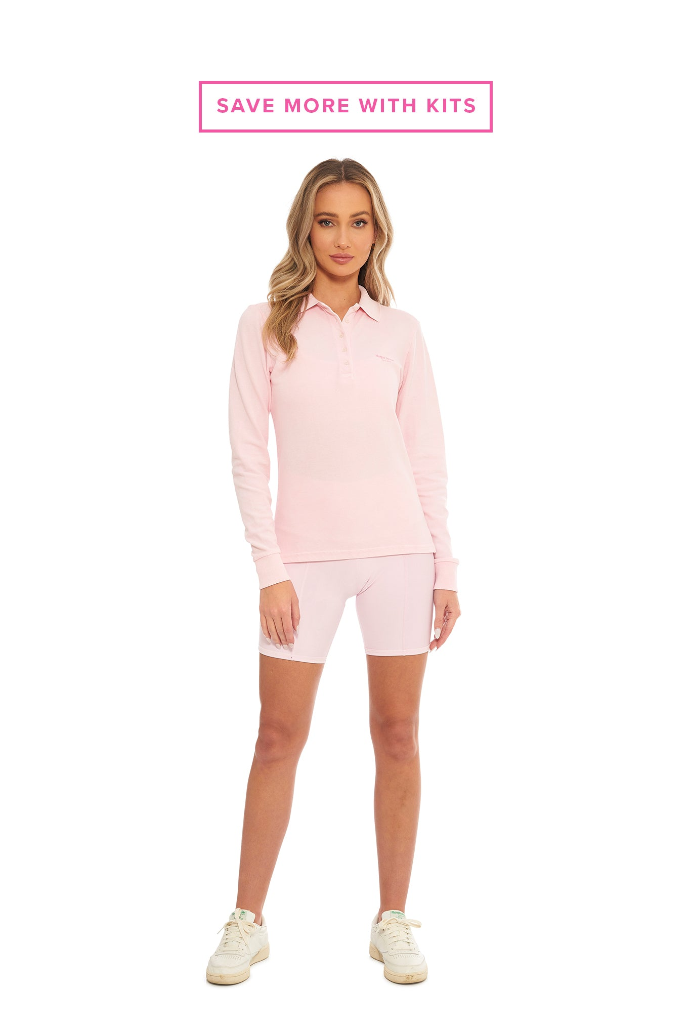 Bubblegum Long Sleeve Polo + Biker Shorts Kit