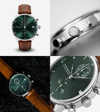 1815 Green Sunray Chronograph Watch - Brown Strap
