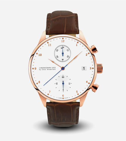 1815 Rose Gold Chronograph Watch - Brown Croco Strap