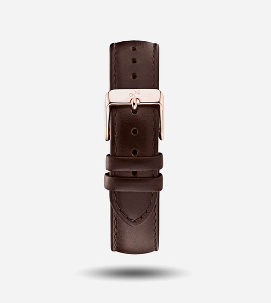 Dark Brown Leather, Rose Gold - 20mm Strap