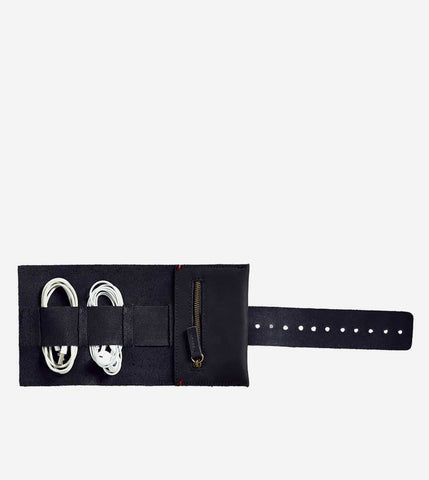 Leather Cord Roll - Jet Black