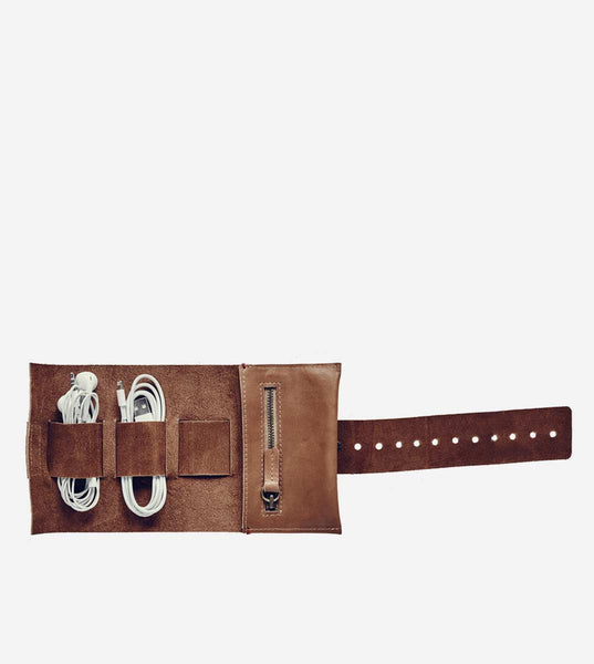 Leather Cord Roll - Tan
