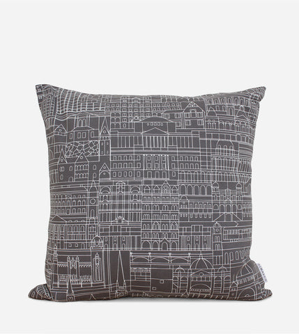 Melbourne Cityscape Cushion Cover, White on Grey