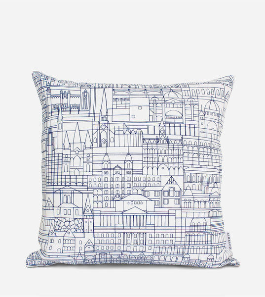 Melbourne Cityscape Cushion Cover, Navy on White