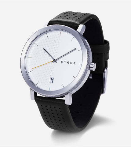 2203 Series - Silver w Black Leather Band