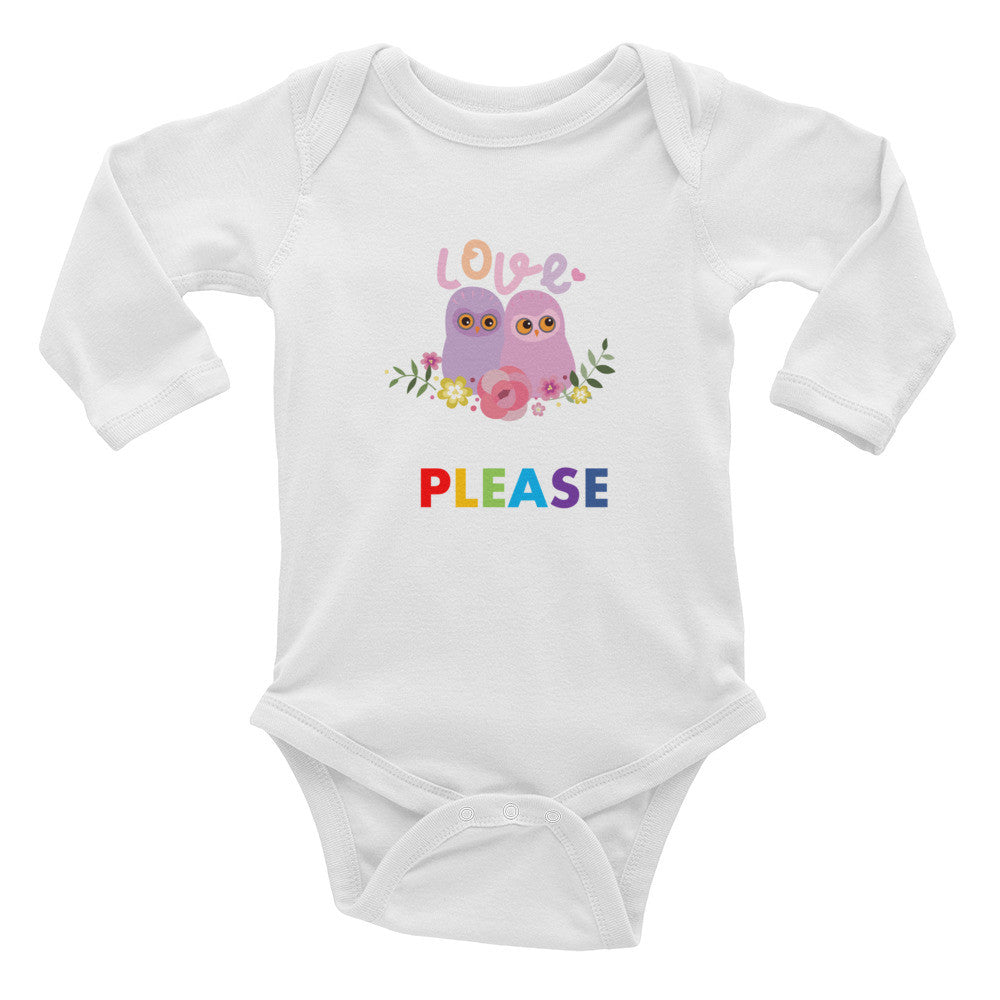 Infant Long Sleeve Bodysuit with Please print