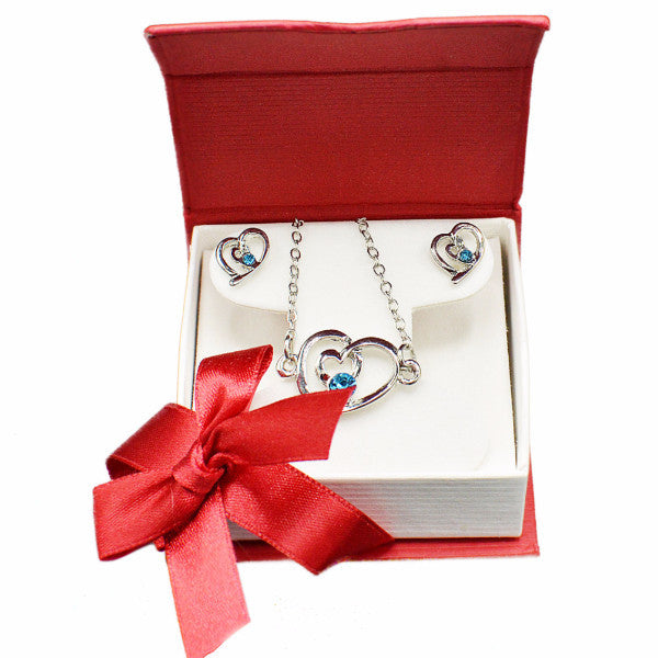 Valentines gift heart jewelry set blue