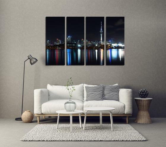 Auckland City Night Lights - 4 Panel Canvas