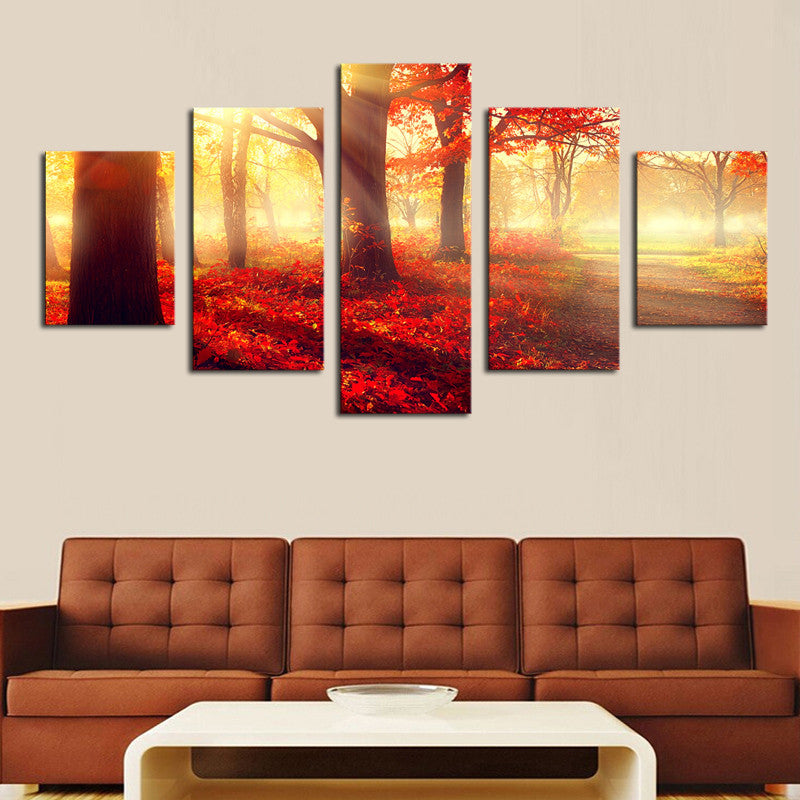 Red Forest - 5 Panel Canvas