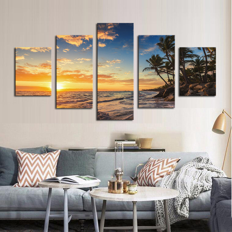 Island Sunset - 5 Panel Canvas