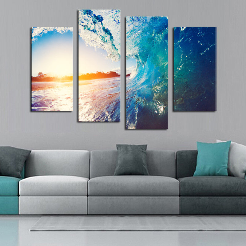 Wave Wash - 4 Panel Canvas