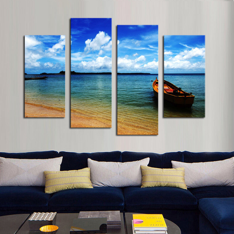 Boat and Beach - 4 Panel Canvas