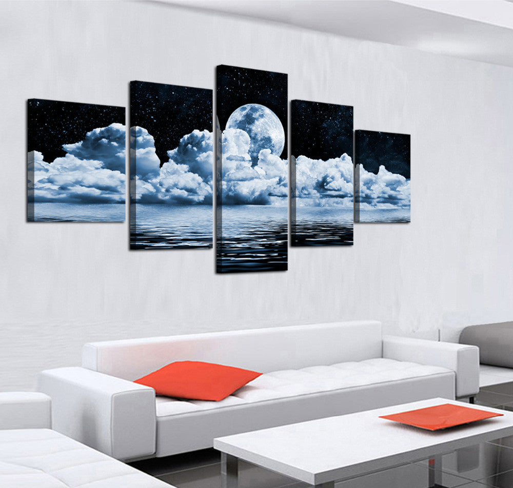 Cloudy Moon - 5 Panel Canvas