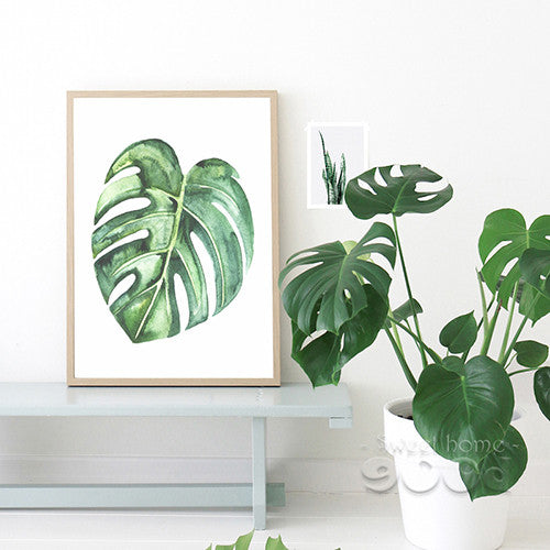 Watercolor Tropical Leaf