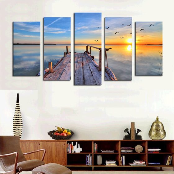 Wharf Sun Rise - 5 Panel Canvas