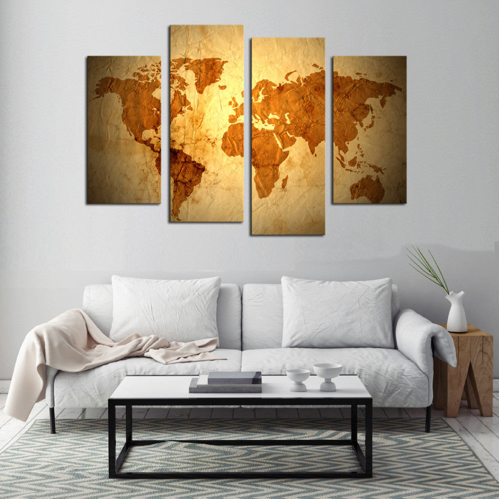 World Map - 4 Panel Canvas