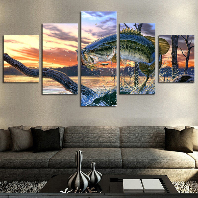 Bass Fishing - 5 Panel Canvas