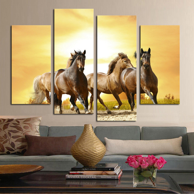 3 Horses  - 4 Panel Canvas