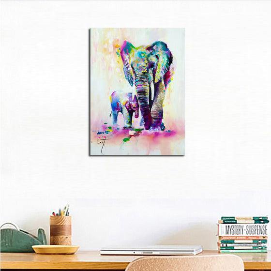 Colourful Elephant Watercolour Canvas