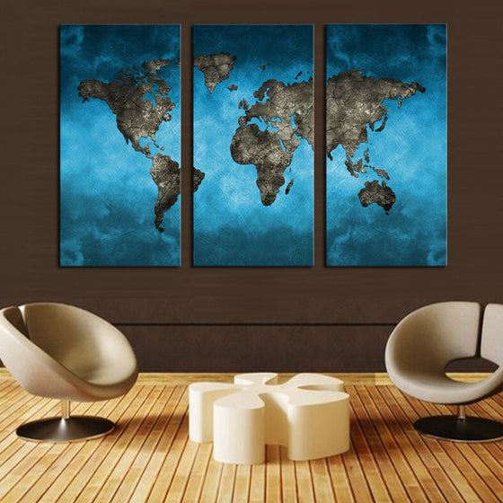 World Map Blue/Black Canvas Set - 3 Panel (Ready to Hang)