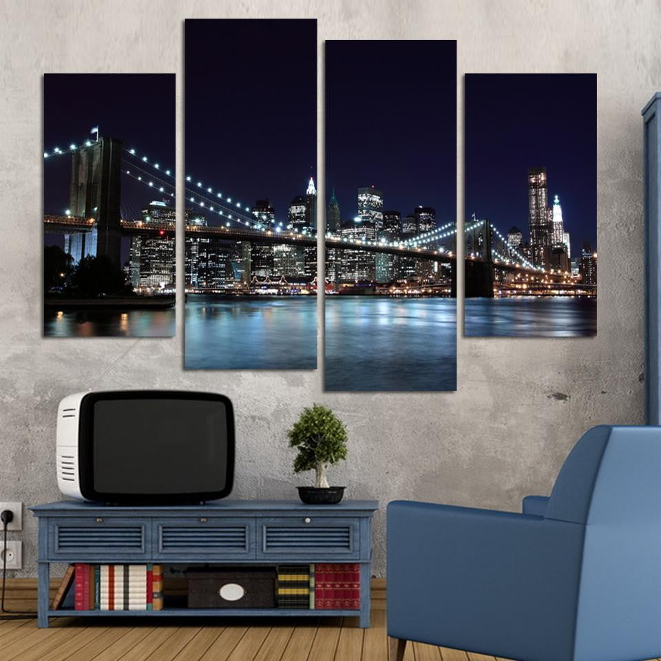 Brooklyn Bridge Night - 4 Panel Canvas