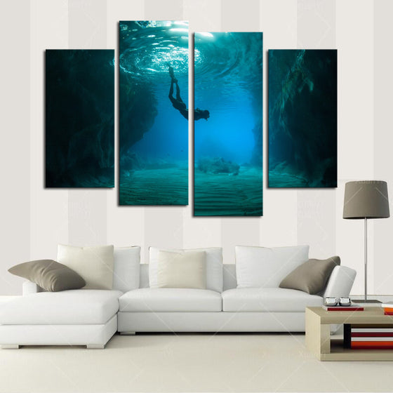 Free Diving - 4 Panel Canvas