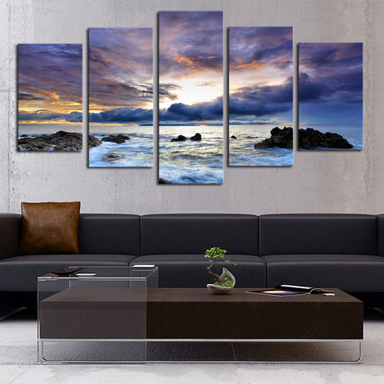 Purple Sky - 5 Panel Canvas