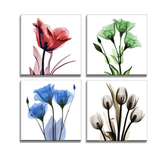Colorful Flowers Watercolor - 4 Piece