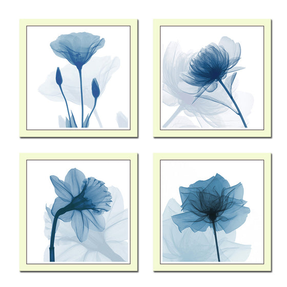 Blue Flowers Watercolor - 4 Piece