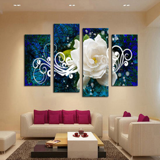 Abstract White Flower - 4 Panel Canvas
