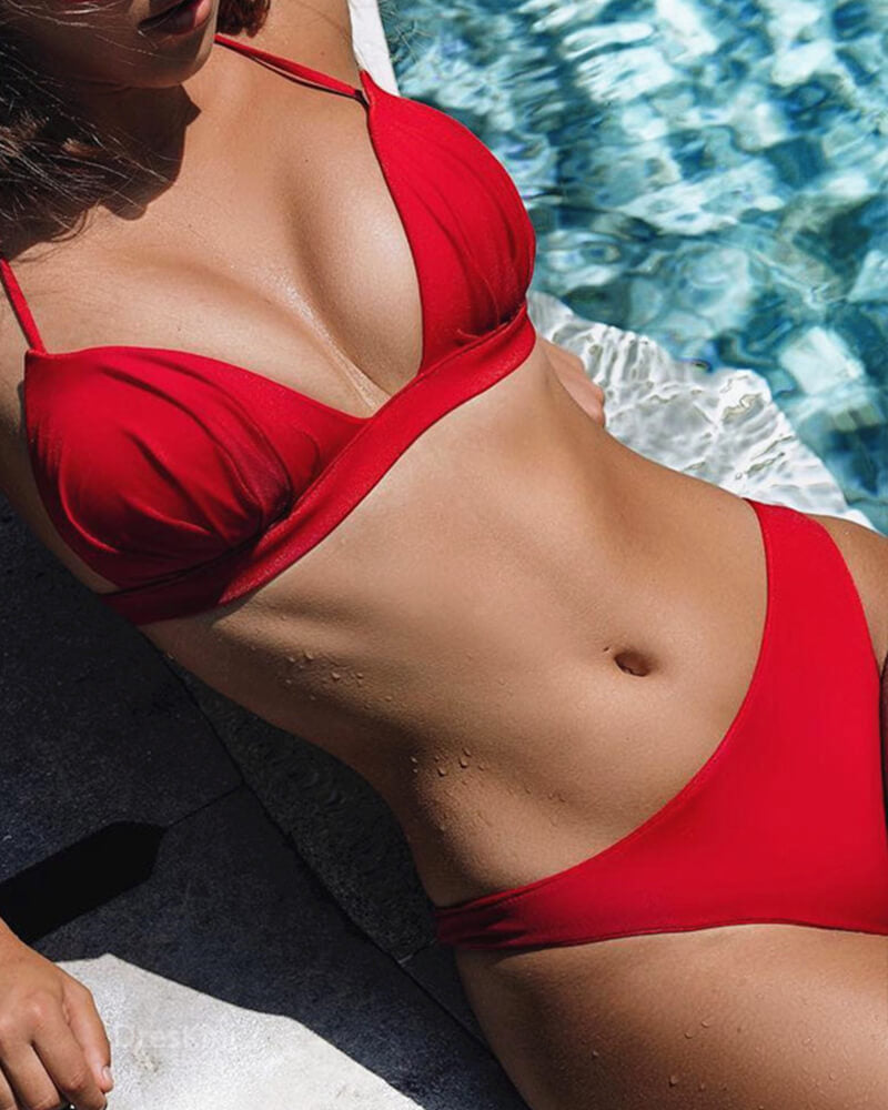 Solid Moulded Cups Bikini set