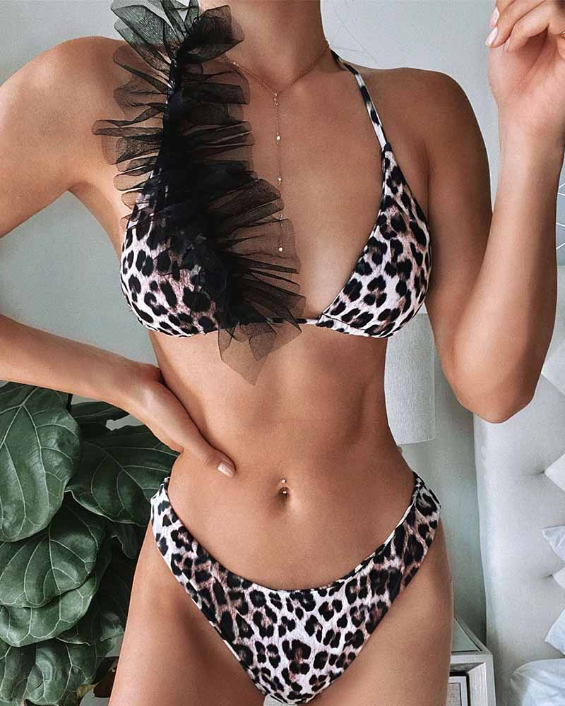 Triangle Halter High Waisted Bikini Set