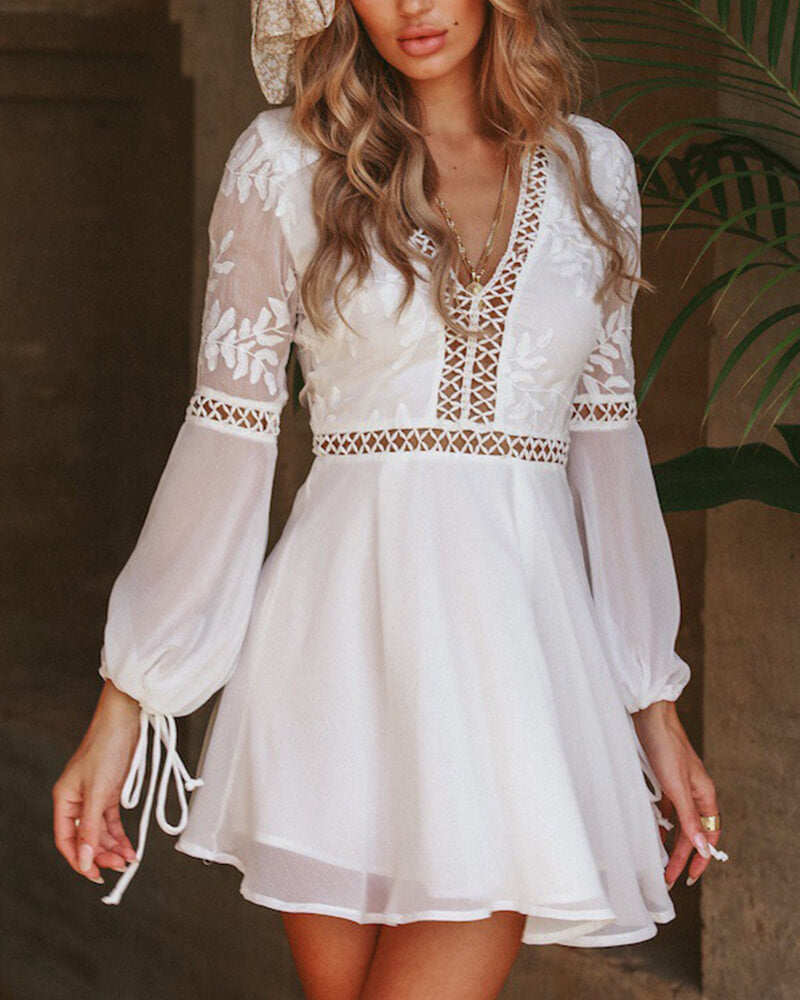 White Organza Patchwork Boho Dress