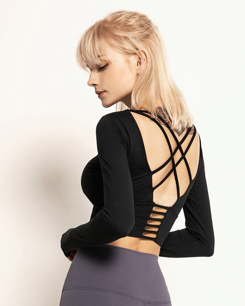 Slim fitting Strappy Backless Workout Tops