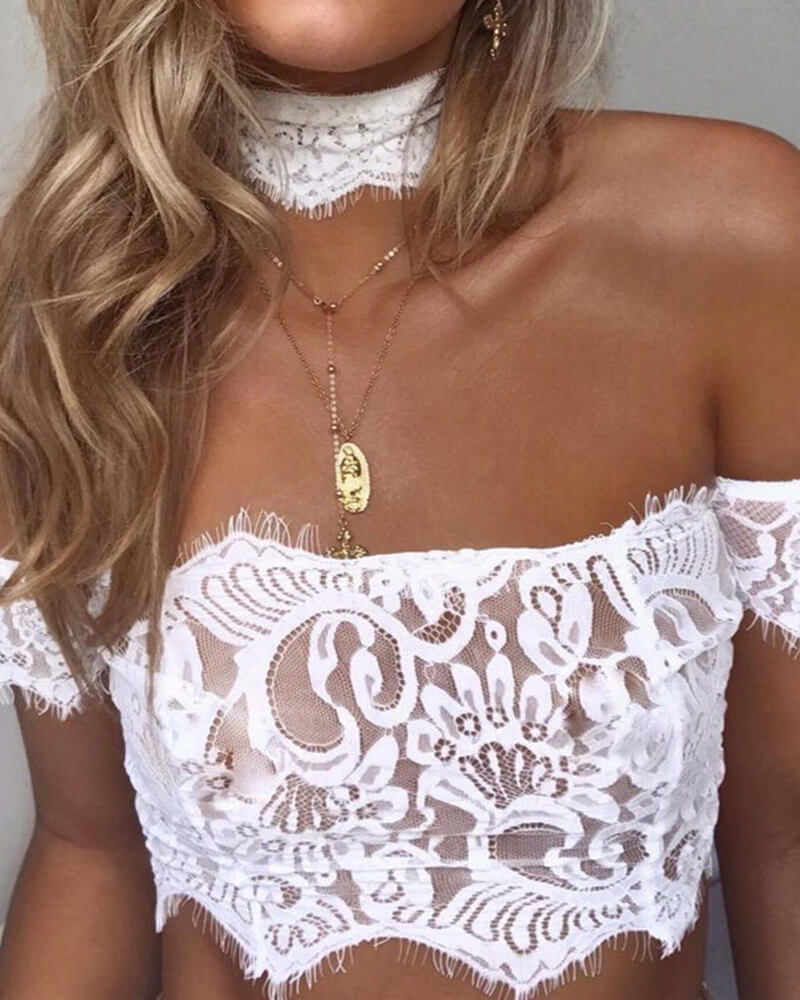 High-Collar Lace Stitching Bralette
