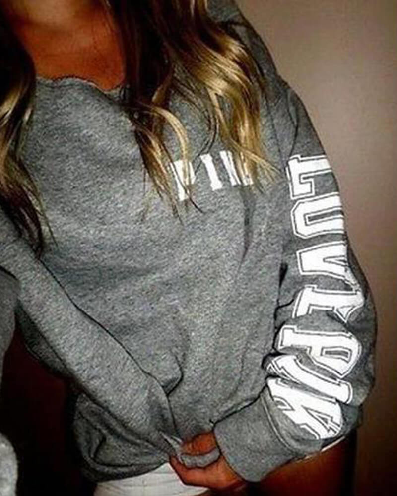 Gray Hooded V-Neck Letter Print Sweatshirt