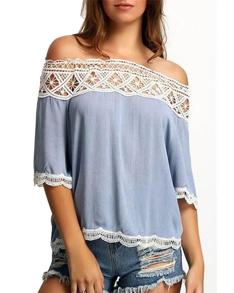 Beautiful Off Shoulder Lace Top Free Shipping